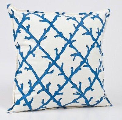 Blue Coral Trellis #Beach Pillow.  Love the simple design and the eco friendly insert!  Made in the USA #coastal decor #beach decor