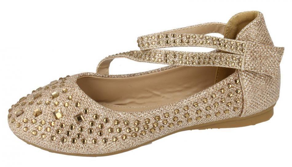 Girls New Gold Glitter Velcro Strap Formal Wedding Occasion Bridesmaid UK 11- 2  New In!