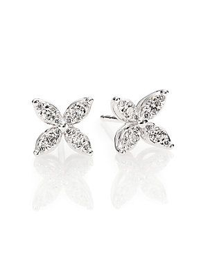 Kwiat Sunburst Diamond 18k White Gold Small Flower Stud Earrings