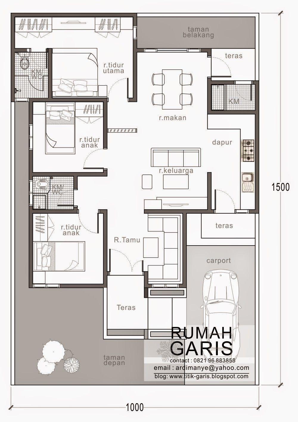 Denah Rumah Tipe 90 Di Lahan 10x15 Meter Rumah Pinterest