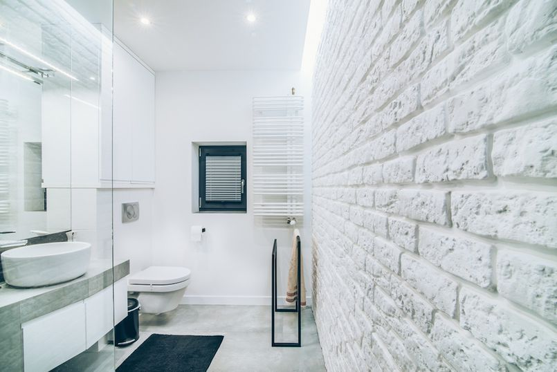 Ceglana Sciana W Lazience Brick Bathroom Alcove Bathtub