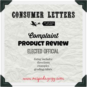 Consumer Letters Complaint Product Review And Elected Official Listing Includes Assignment Directions