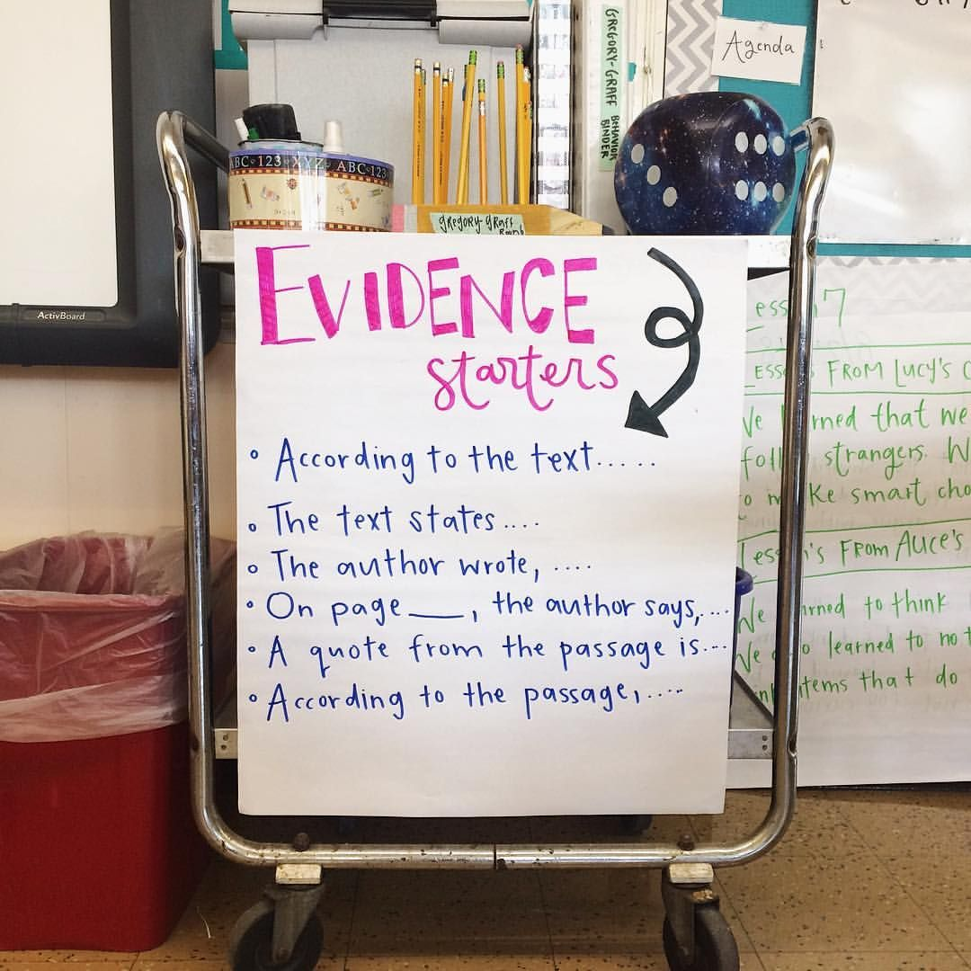 We Made This Anchor Chart Today For Evidence Starters! I