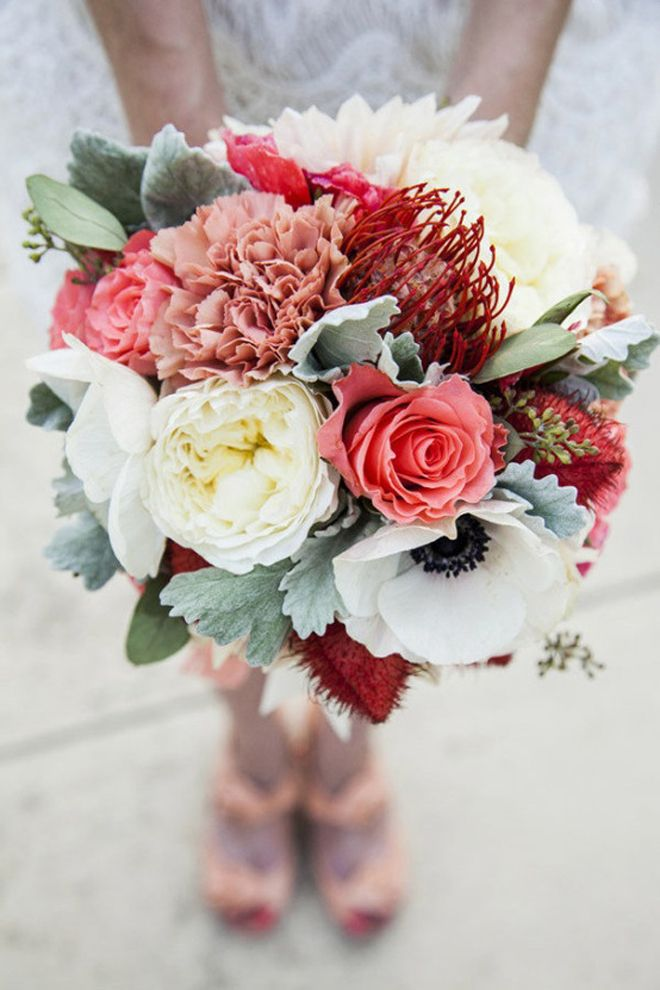 Bridal Bouquet in salmon, peach, white, gray and mauve~ garden roses, lamb's ear, anemones, roses, carnations, pincusion protea, dahlia