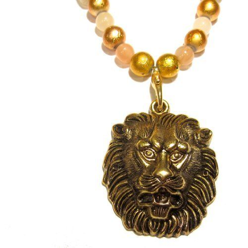 Moonstone Necklace 02 Pendant Gold Lion Beaded Crystal Healing Gemstone Reiki 18  Price : $85.00 http://www.idigcrystals.com/Moonstone-Necklace-Pendant-Crystal-Gemstone/dp/B008QQKGD6