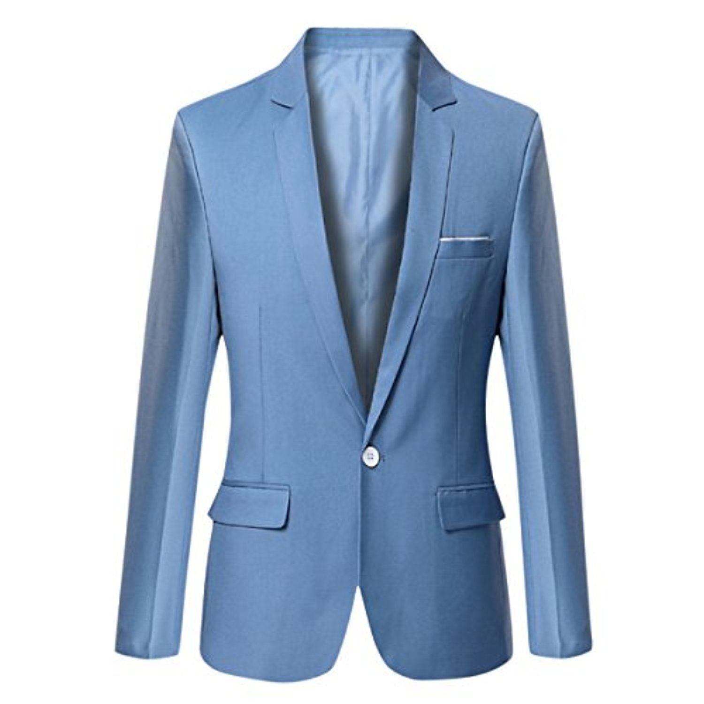 Pishon Men's Blazer Jacket Lightweight Casual Slim Fit One Button ...