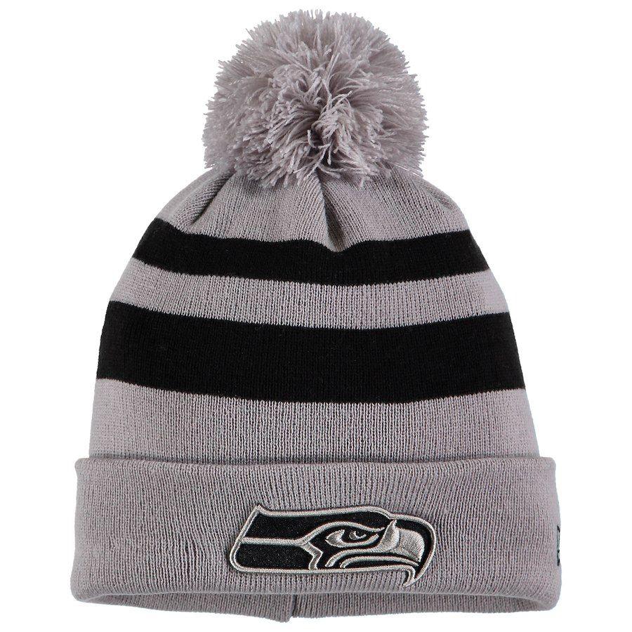 e7d81da2411 Men s Seattle Seahawks New Era Gray Rebound Pom Cuffed Knit Hat ...