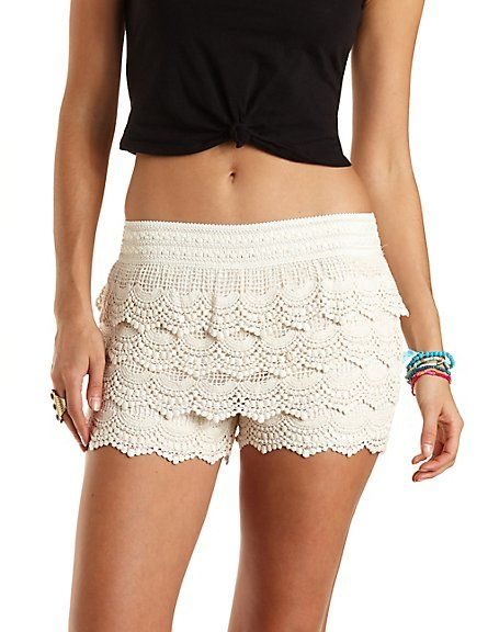 Scalloped Crochet High-Waisted Shorts #charlotterusse ...