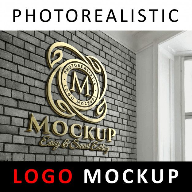 3d Golden Logo Signage On Office Brick Wall