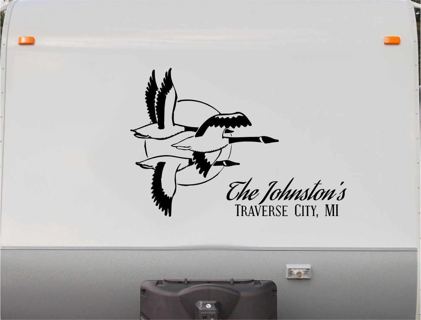 Ducks Geese Mountains RV Camper Th Wheel Motorhome Vinyl Decal - Custom rv vinyl decals