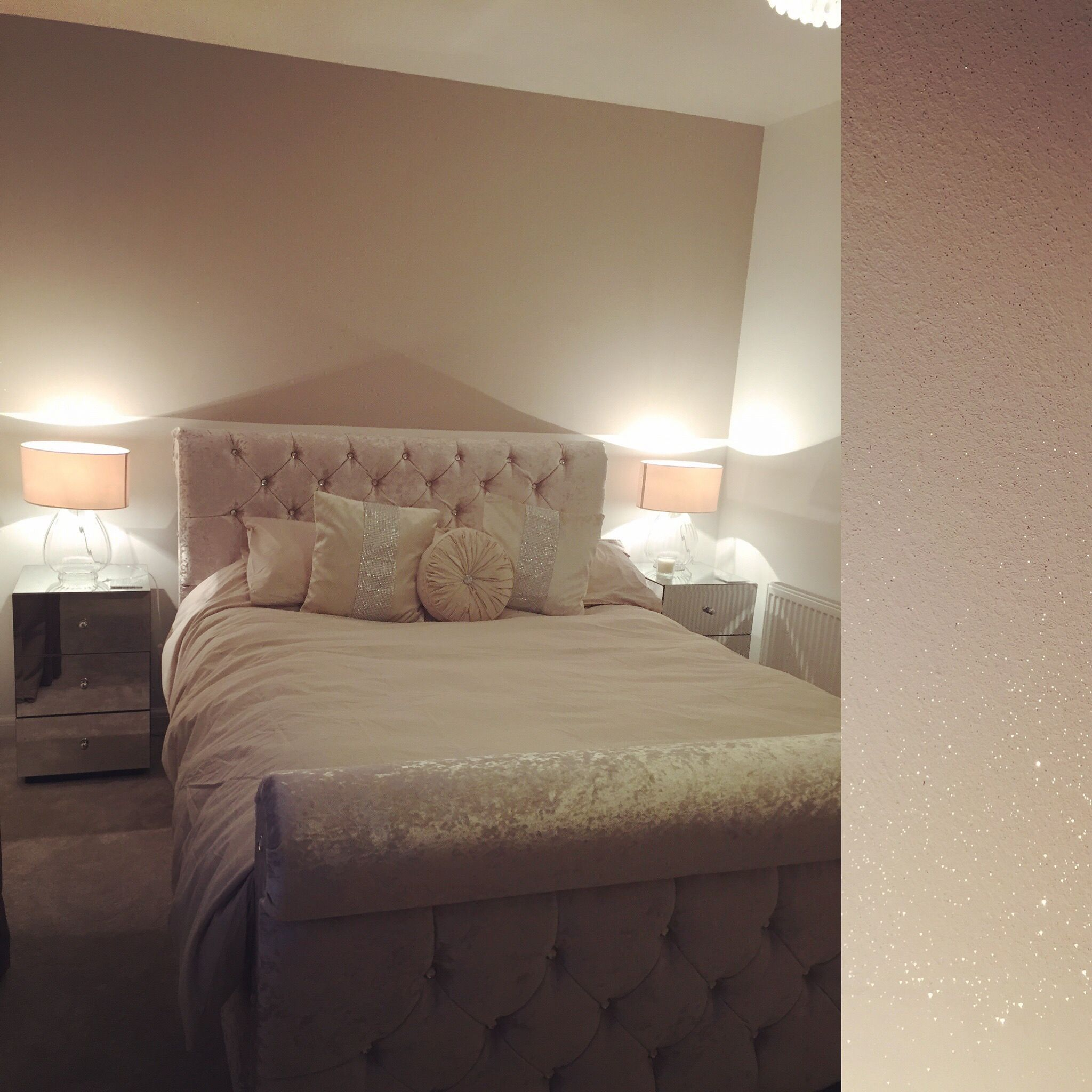 half feature wall with glitter paint to my bedroom. crushed velvet