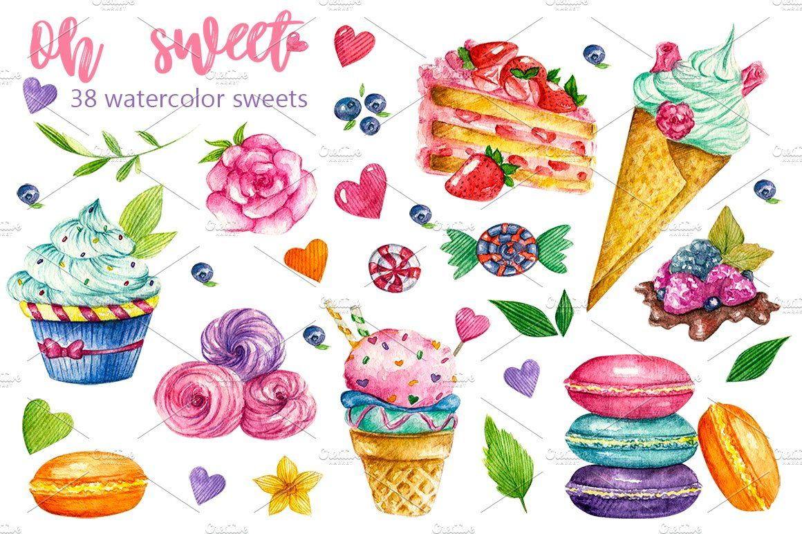 Sweets Confectionery Watercolor Clipart Includes Watercolor Cakes