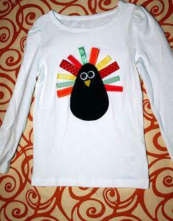 A Couple of Craft Addicts: Turkey Ribbon Shirt