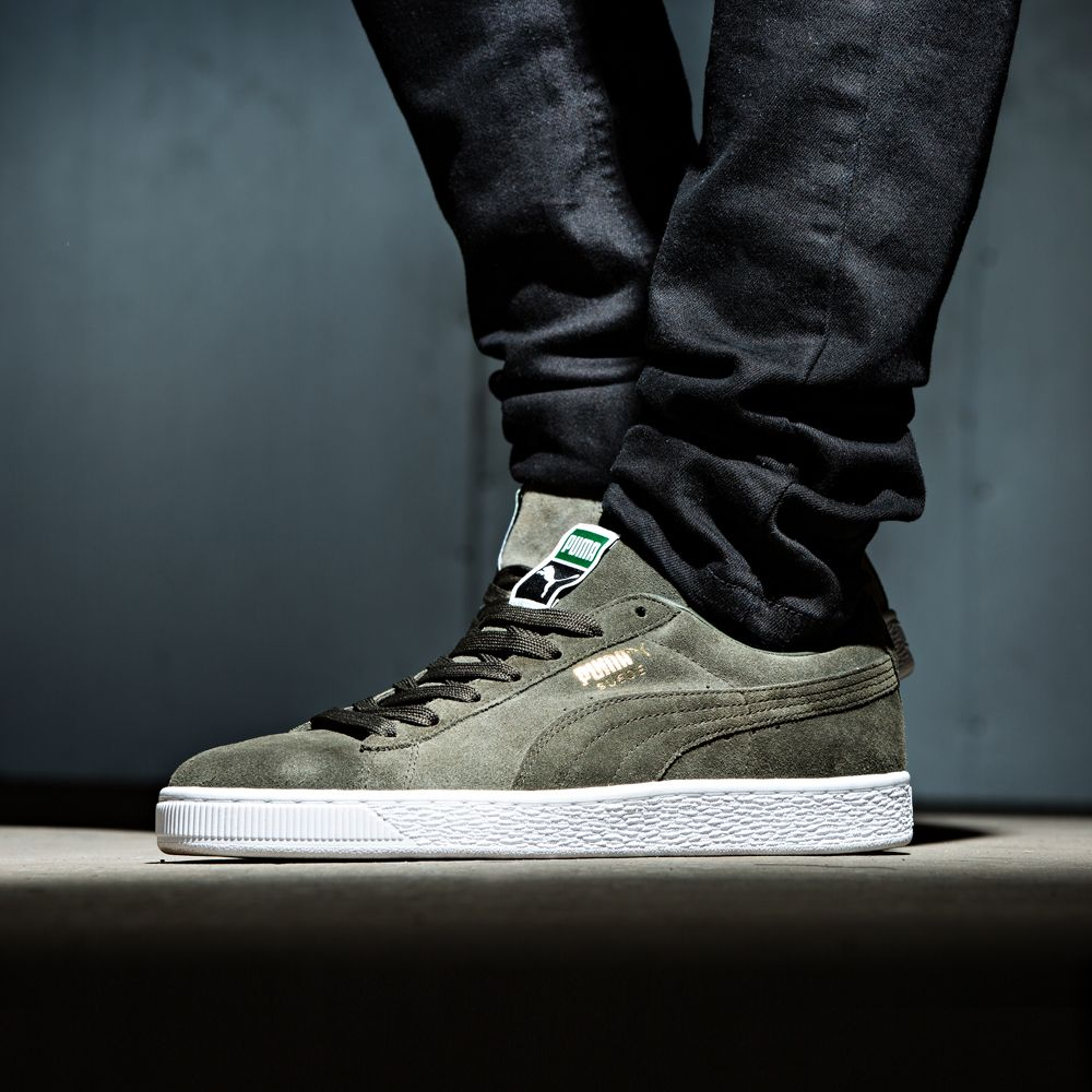 eb475b36818 Add the Puma Suede Classic Trainer in Forest and White to your collection.