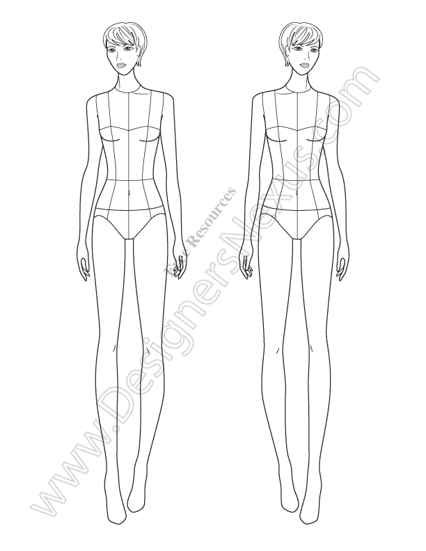 Download this free fashion illustration template of a female download this free fashion illustration template of a female croqui standing in front view pose pronofoot35fo Choice Image