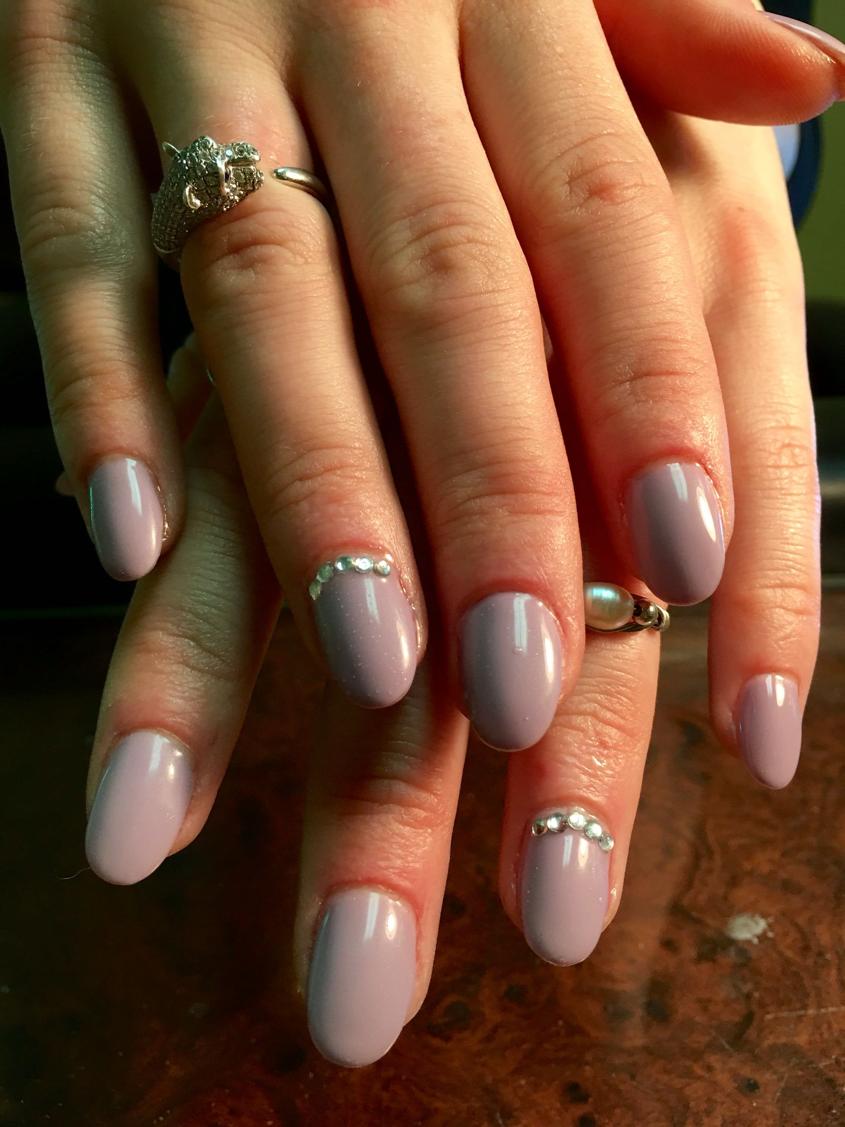 Oval/almond shaped gel nails in Cuccio \