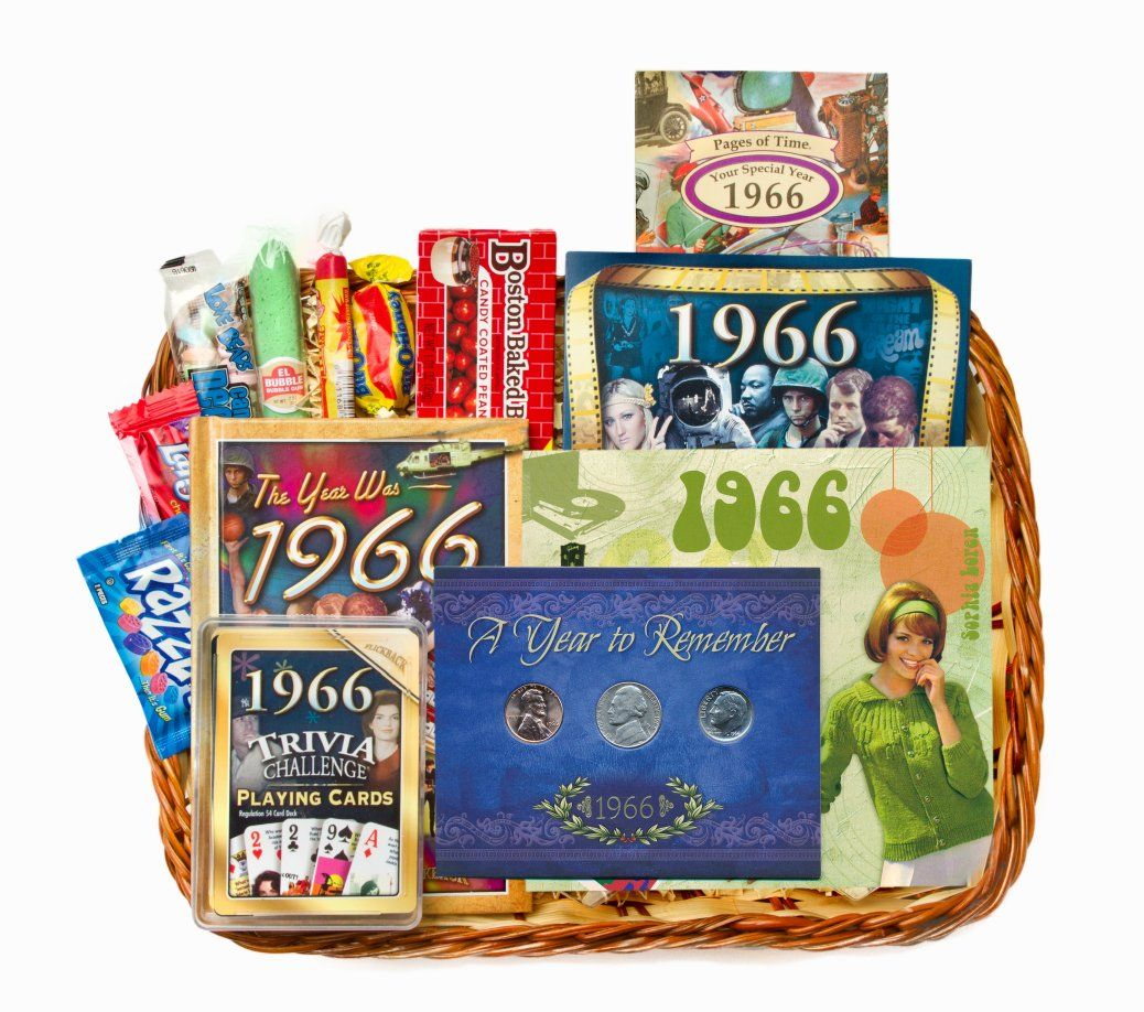 Unique Wedding Gift Basket Ideas: 50th Anniversary Gift Basket For 1966. This Nostalgic And