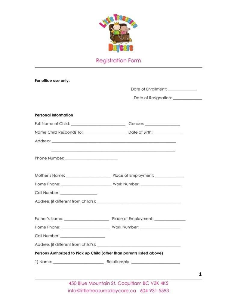 10 daycare application forms word free microsoft word