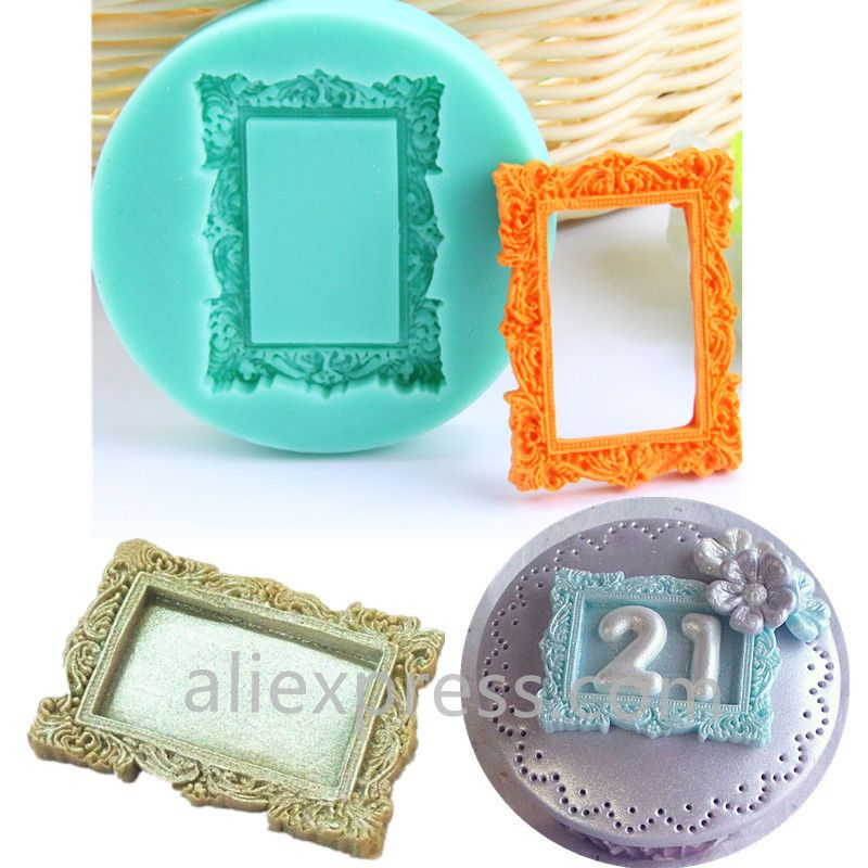 3d Cupcake Mold Vintage Frame Square Cake Stand Silicone Mold Sculpture Fondant Cake Cooking Tools Moulds Square Cake Stand Cupcake Mold Wedding Cake Supplies