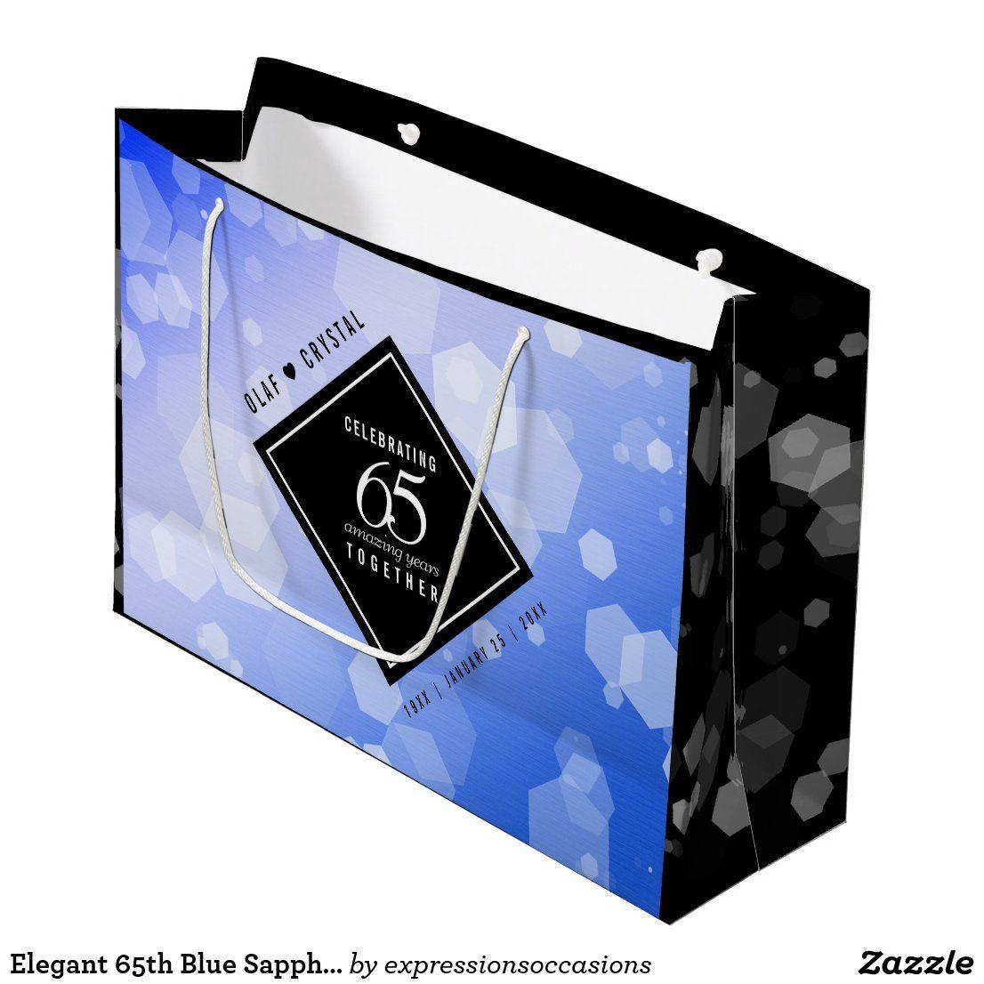 Elegant 65th Blue Sapphire Wedding Anniversary Large Gift