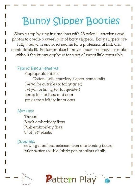Baby Bunny Slipper - a PDF sewing pattern - 3 sizes   Chaqueta ...