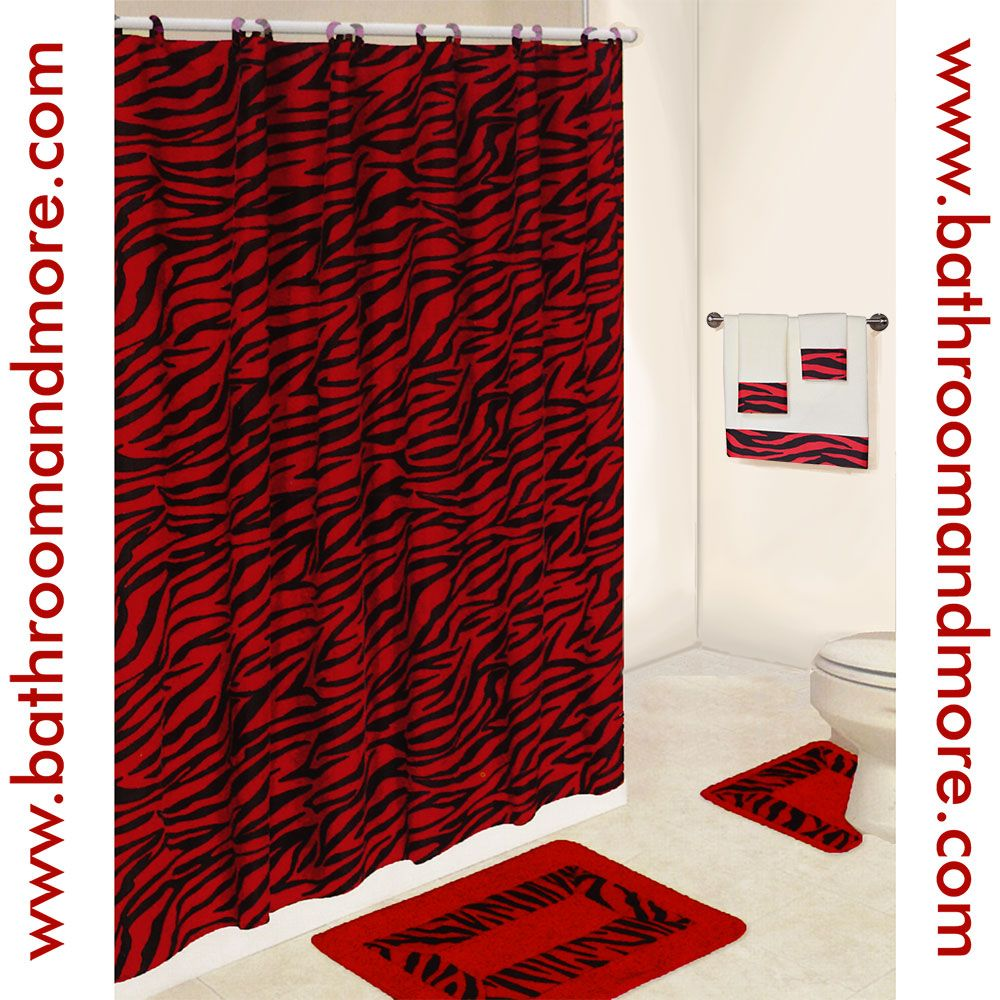 lush red zebra print bathroom set comes complete with fabric shower curtain rings - Red And Black Print Bath Towels