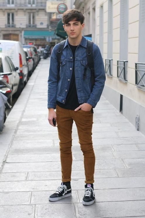 casual simple  denim jacket  brown pants  navy sweater