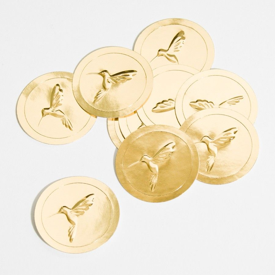 PAPYRUS Gold Hummingbird Seals (Pack Of 250)