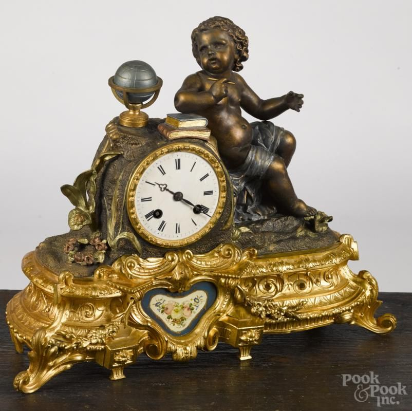 Japy Frères gilt spelter mantel clock #Japy #French #clock #antique