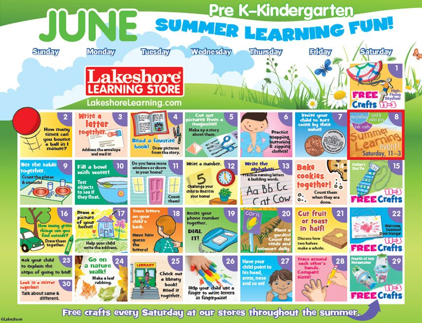 photo about Lakeshore Learning Printable Coupons named Summertime Studying Calendar at Lakeshore Understanding One of a kind Ed