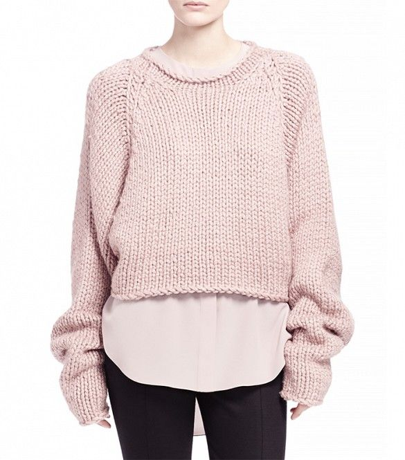 You'll need this dreamy pale pink sweater this fall // Chloe Hand-Knit Cropped Sweater