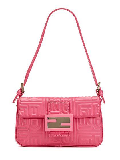 6b4a9e7f5d1c Fendi Pink Monogram Leather Mini Baguette Bag
