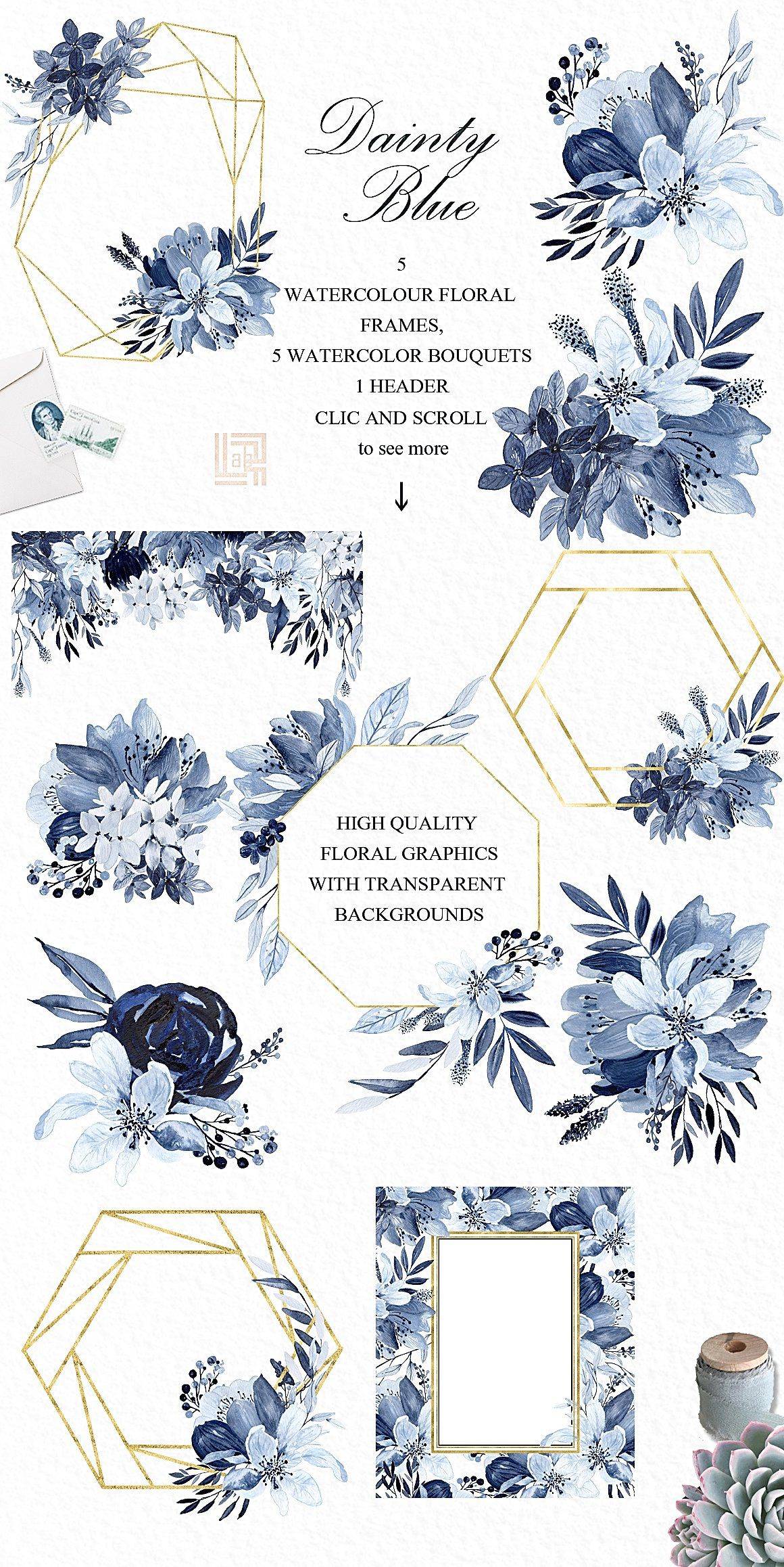 25OFFDainty blue Navy blue flowers by LABFcreations on