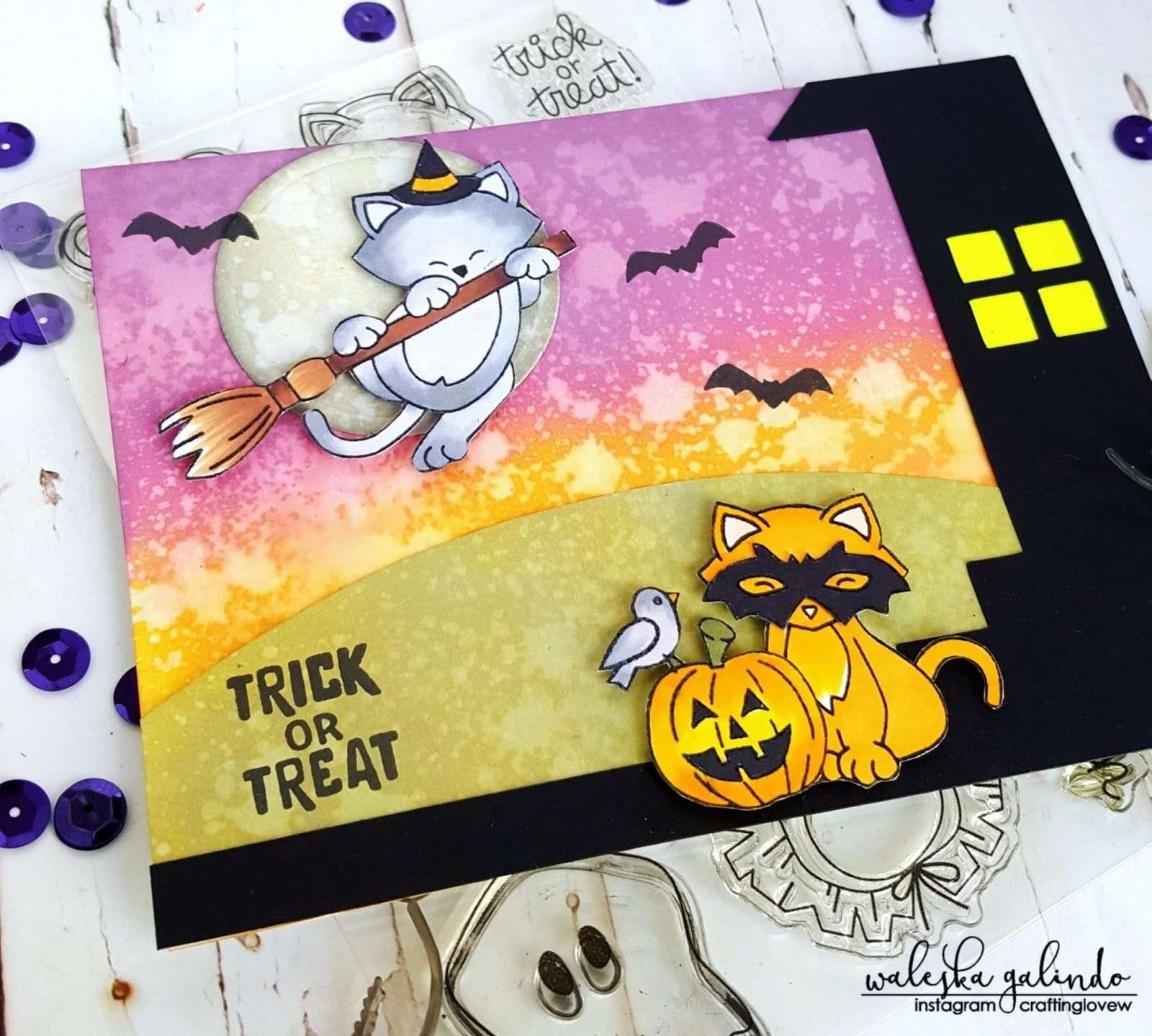 Trick Or Treat Card By October Guest Designer Waleska Galindo Newton S Boo Tiful Night And Newton S Costum Halloween Greetings Halloween Cards Trick Or Treat