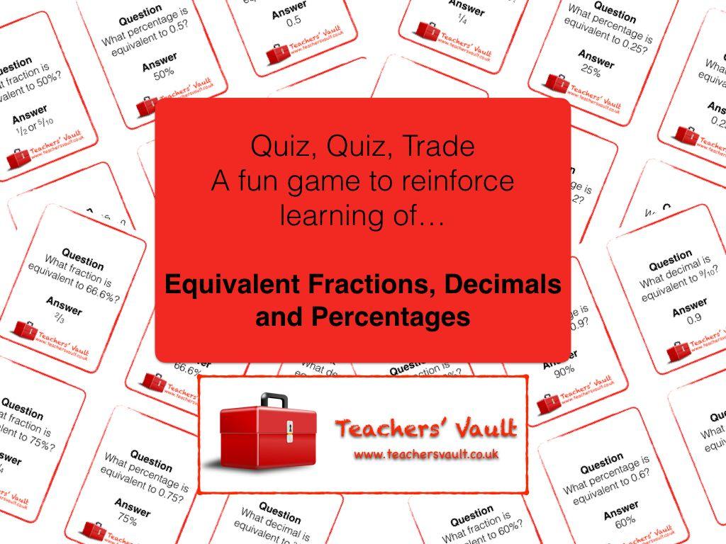Fractions Decimals And Percentages Quiz Quiz Trade Game