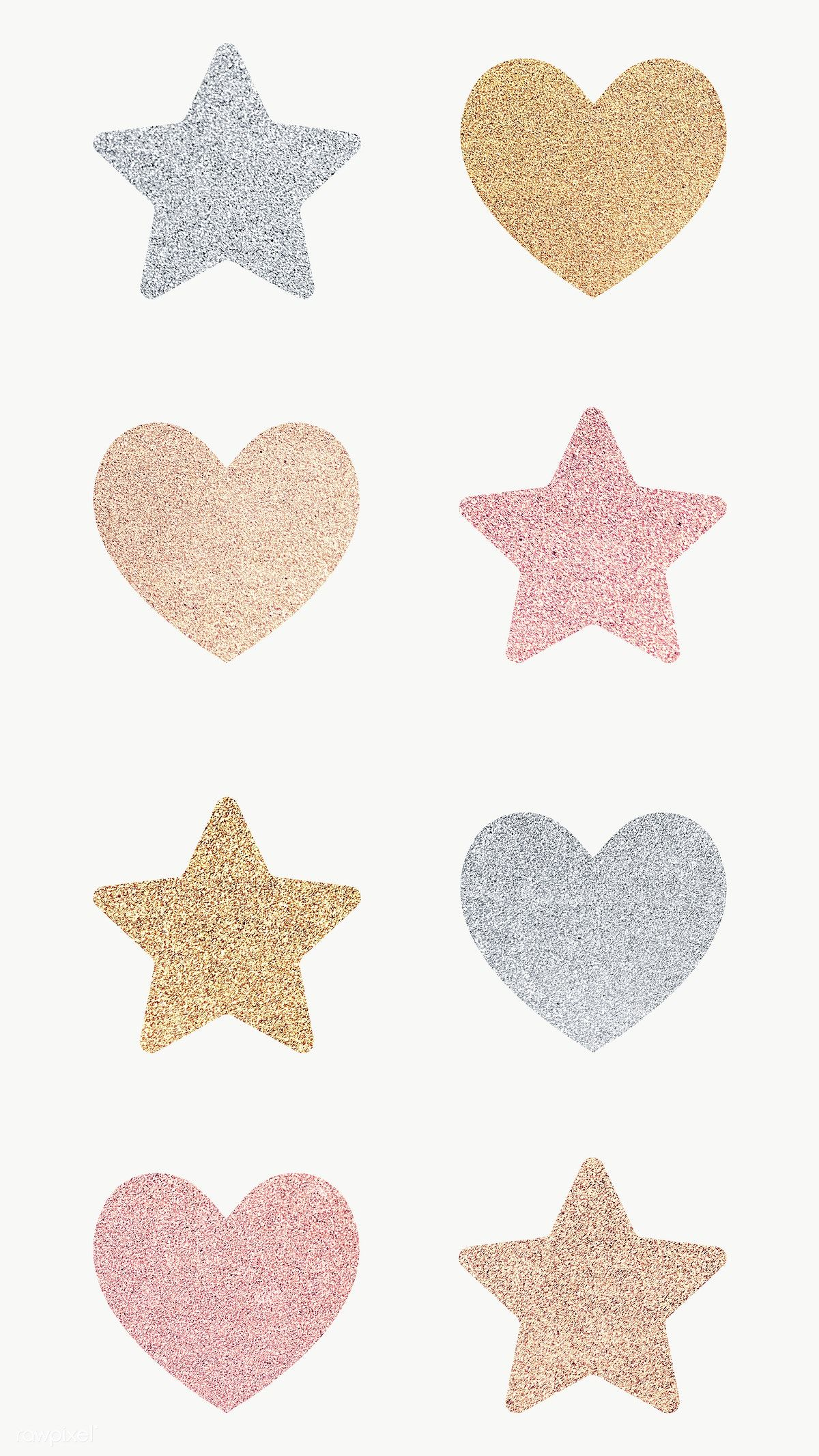 Glitter Heart And Star Sticker Set Transparent Png Free Image By Rawpixel Com Ningzk V Glitter Hearts Glitter Stickers Star Stickers
