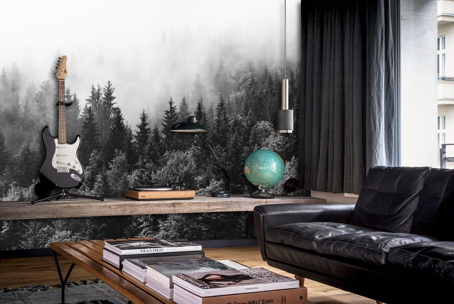 Through the Clouds, Monochrome Misty Forest scene mural