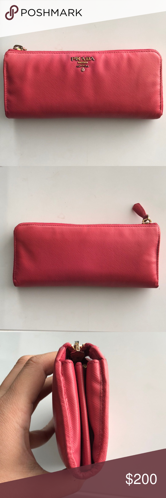 a789bb1c9f0995 Prada saffiano leather continental wallet pink Great used condition except  for slight leather wrinkling. Prada
