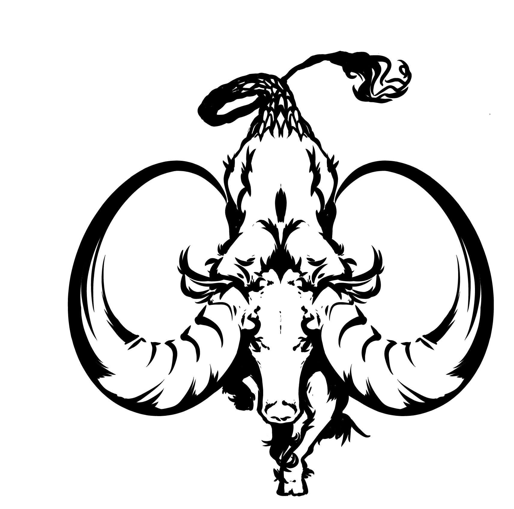 Sign tattoo designs - Black And White Capricorn Tattoo Design