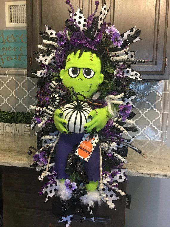 Halloween Wreath, Frankenstein Wreath, Lighted Halloween Wreath - halloween lighted decorations