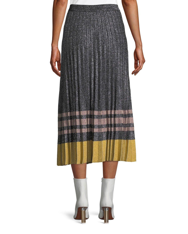 c49a868d6e Derek Lam 10 Crosby Pleated Metallic Knit Midi Skirt   Products