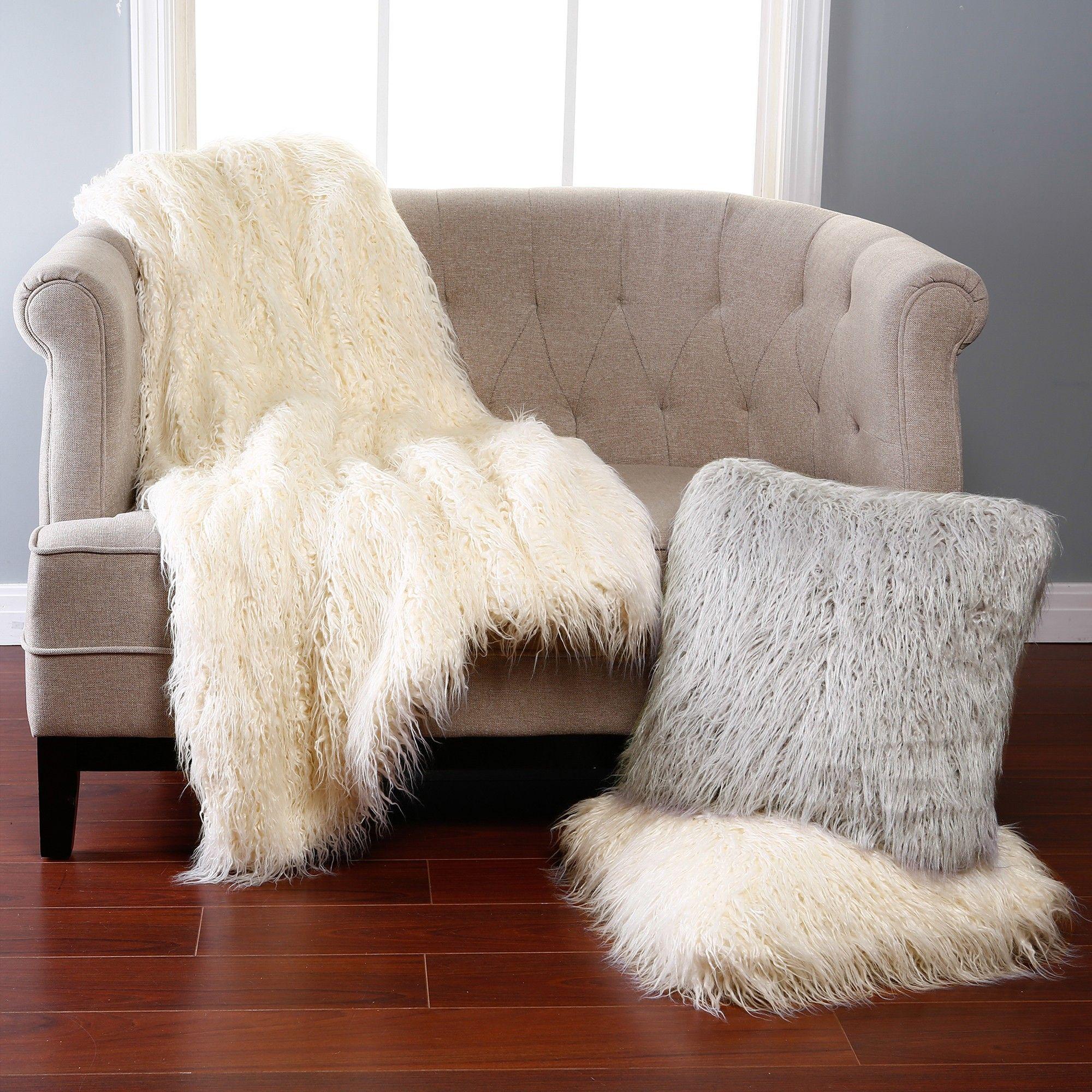 White Sofa Throw Winter Living Room Decor White Faux Fur Rug Sofa Throw