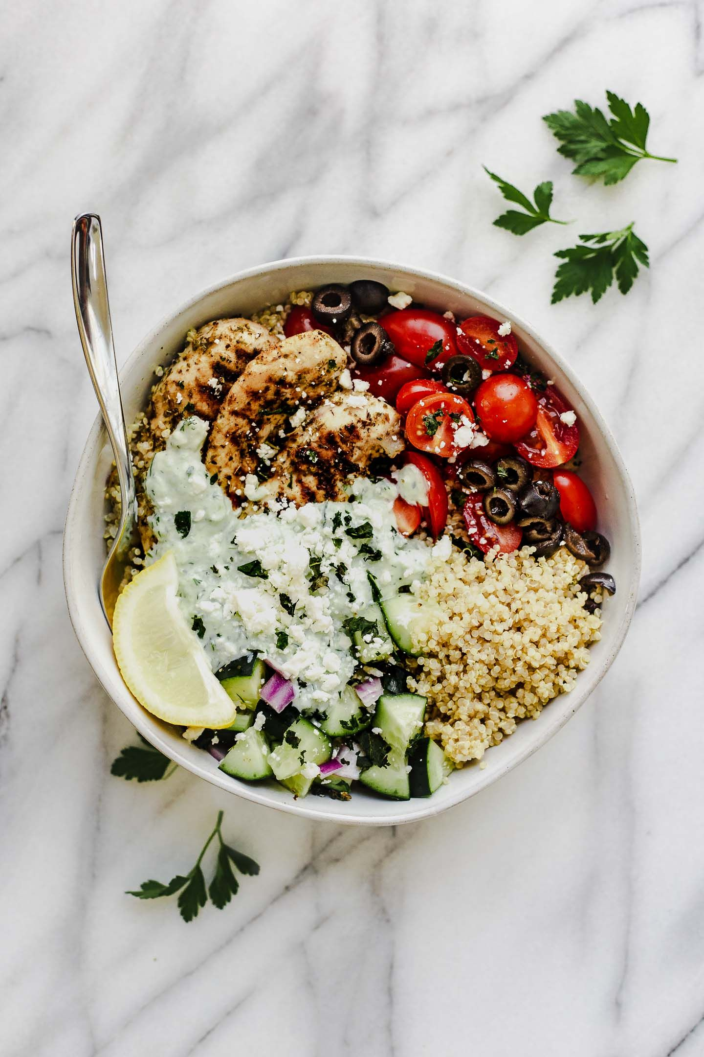 Greek Chicken Quinoa Bowl Meal Prep Recipe Recipe Quinoa Bowl Bowls Recipe Quick Healthy Meals