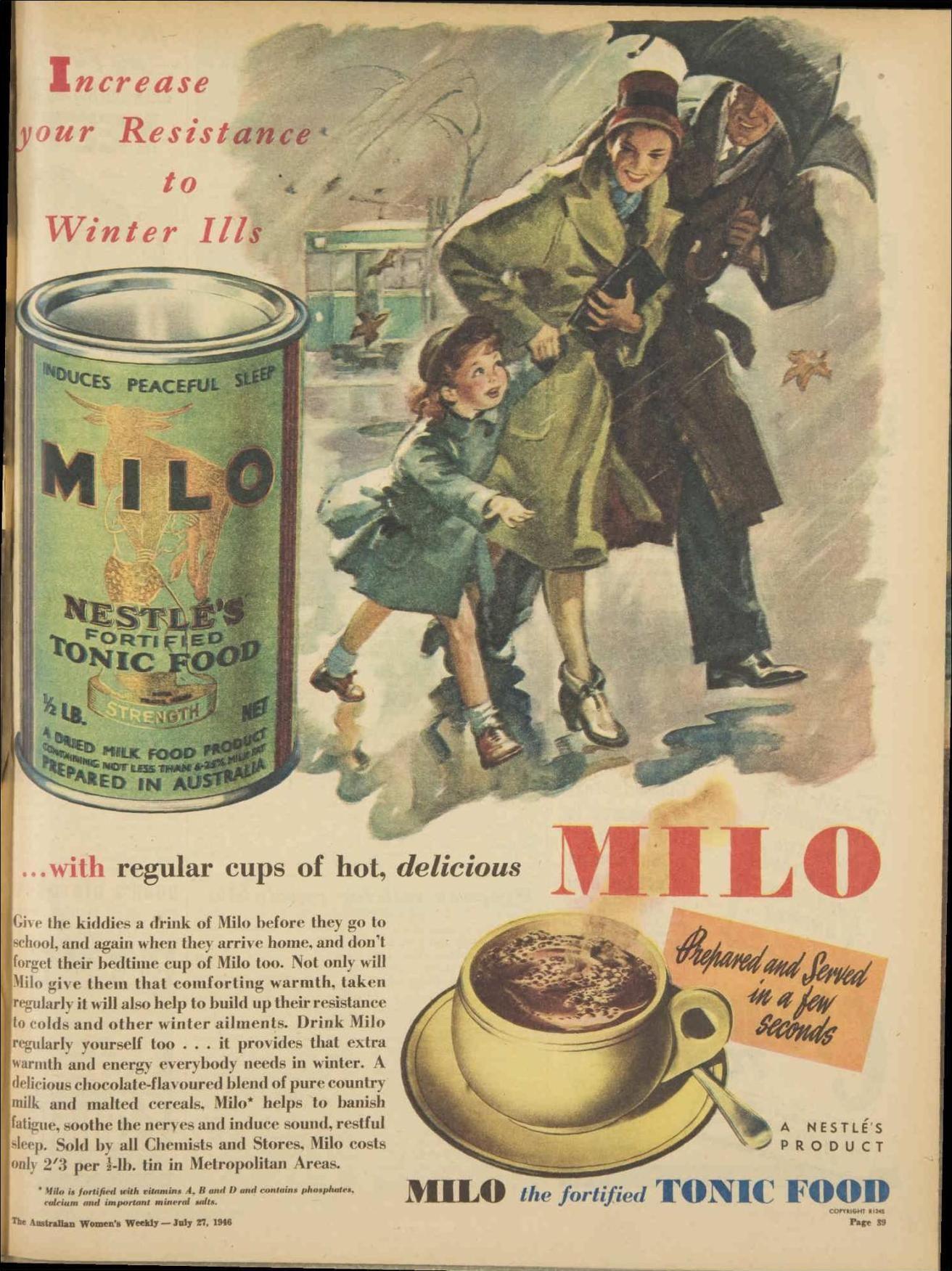 Milo 27 July 1946 Advertising History Vintage