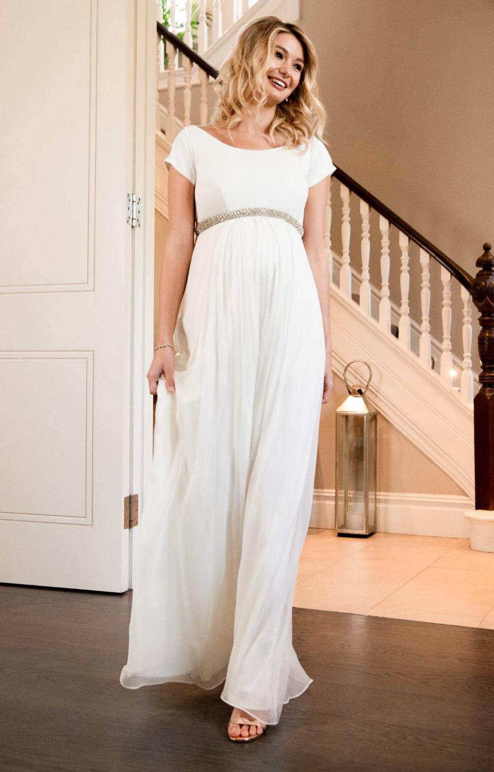 Greta Maternity Wedding Gown Long Ivory   Maternity Wedding ...