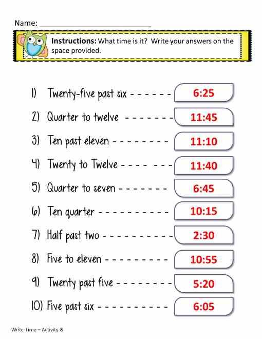 Time Worksheets In Words  Worksheets    Telling Time
