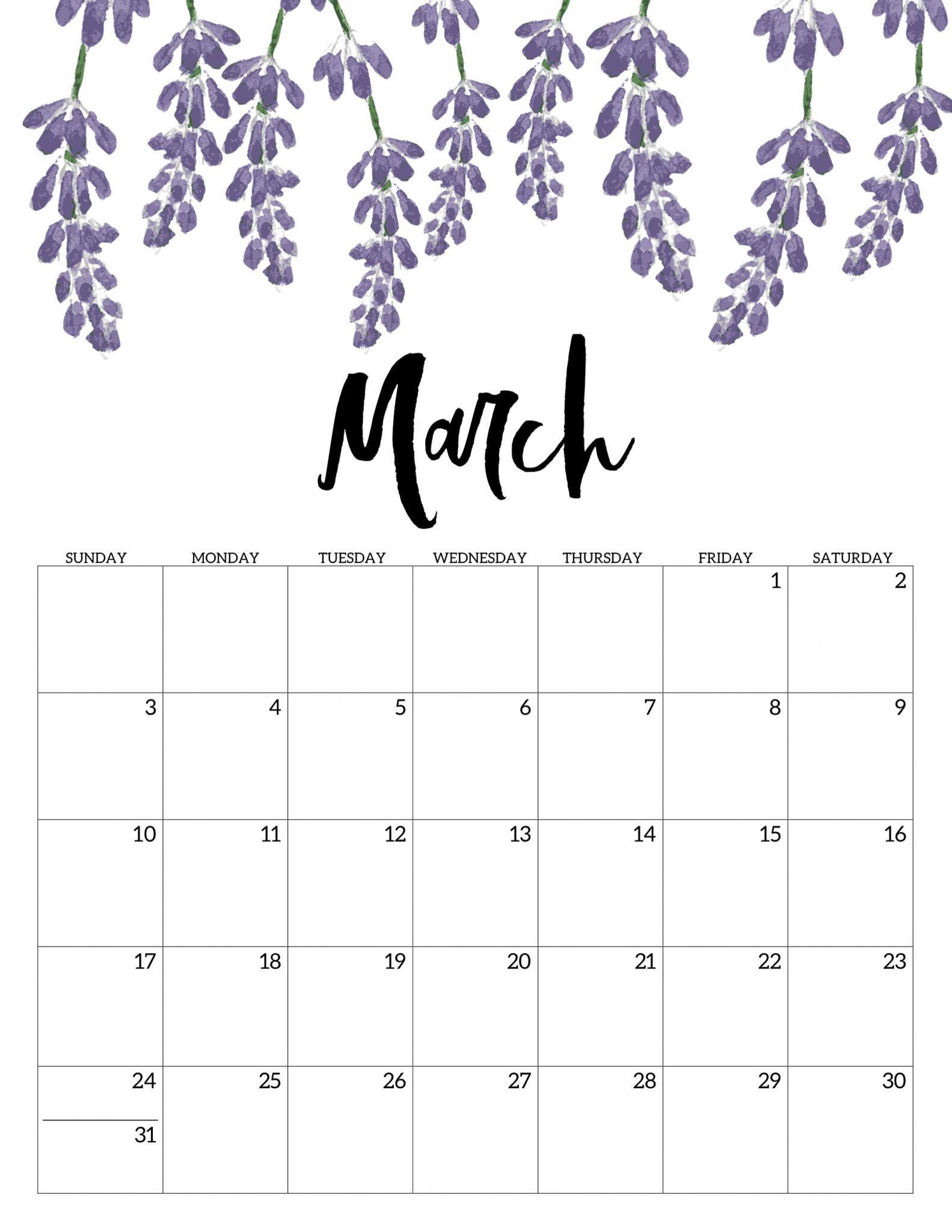 Blank Calendar March 2020 Pdf Printable Template Calendar 2019