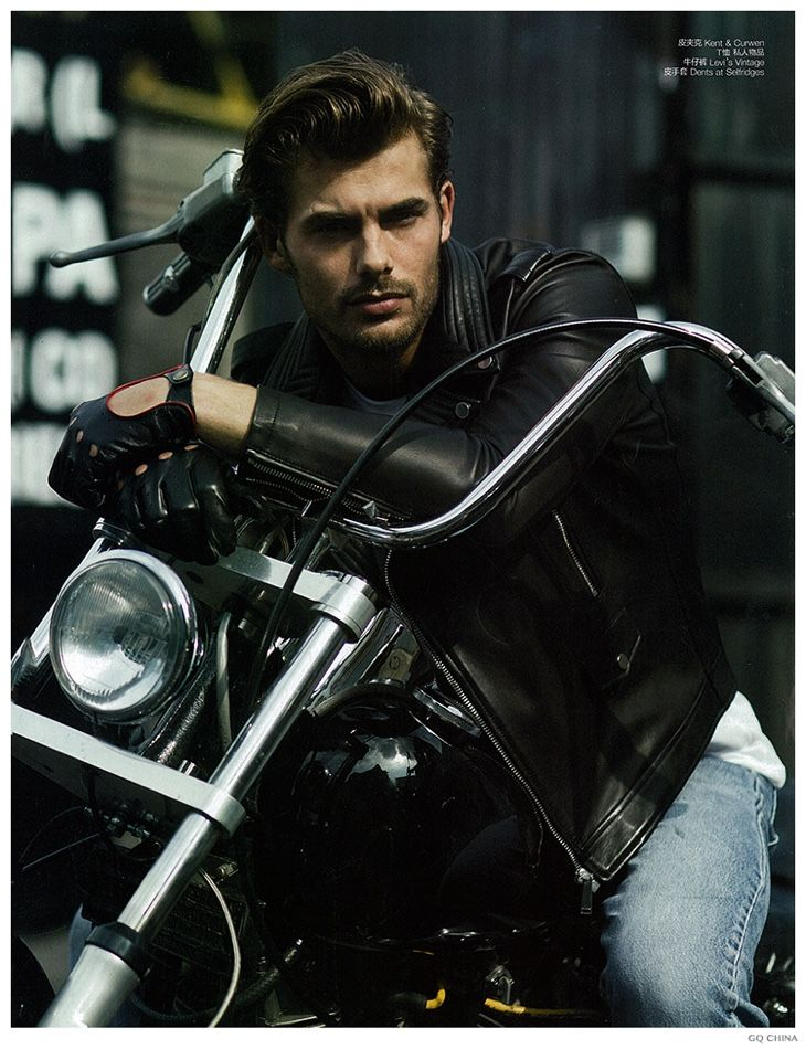 Jacey Elthalion is Biker Chic in Leather Jackets for GQ China, image Jacey Elthalion