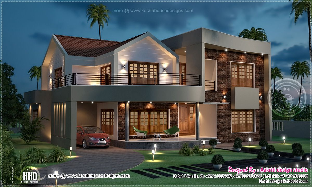 Kerala style single floor house plan 1155 sq for Villa plans in kerala
