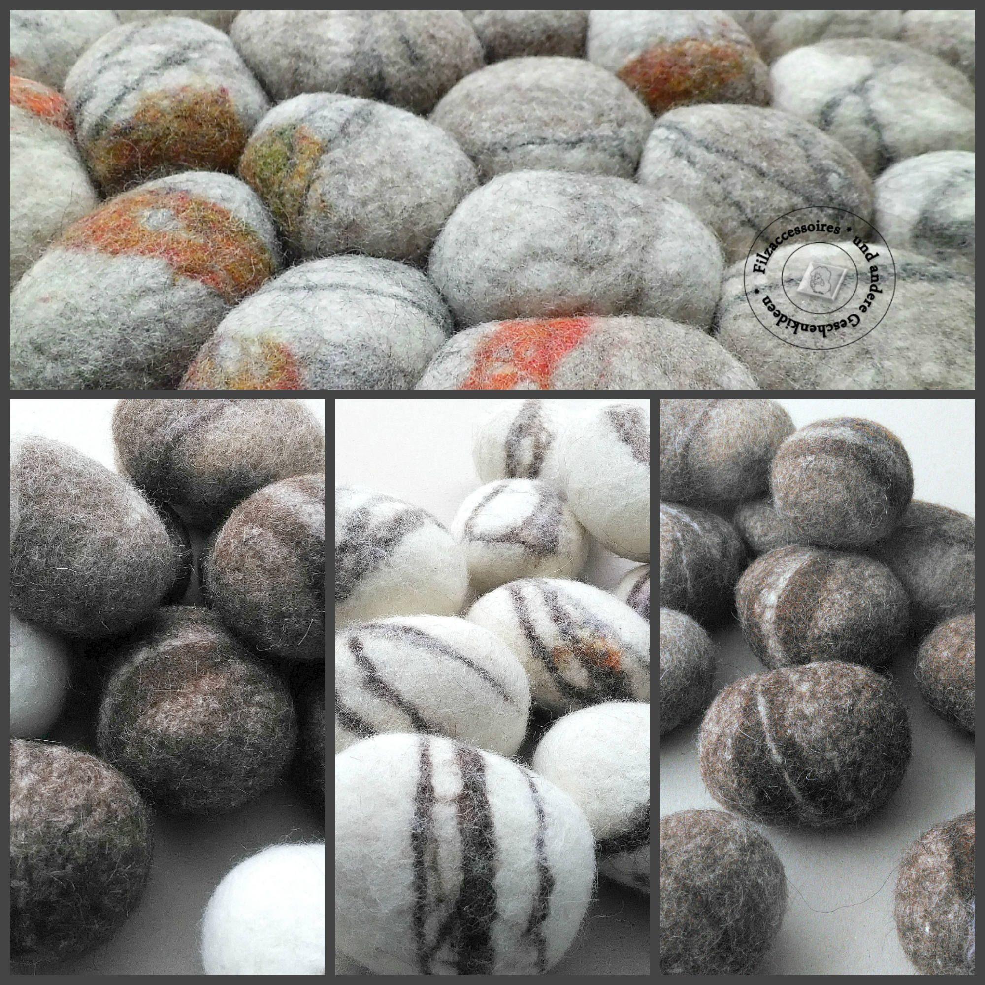 Filzsteine aus Wolle, 15 Stück Kieselsteine aus Schurwolle-Mischung ...